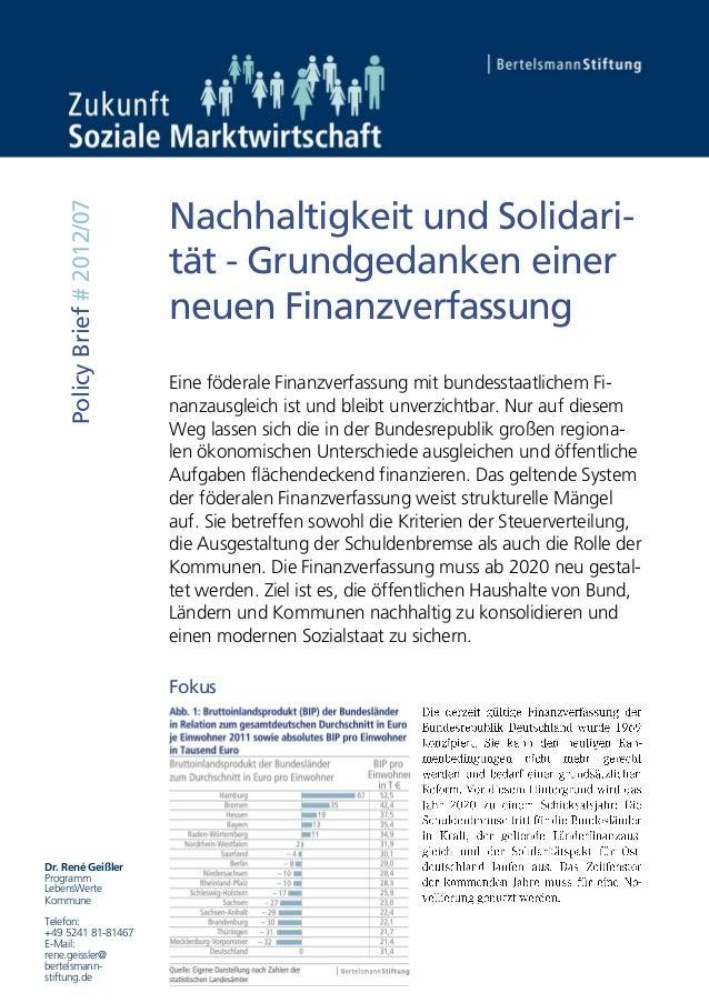 Nachhaltigkeit und Solidari-    Policy Brief # 2012/07                             tät - Grundgedanken einer              ...
