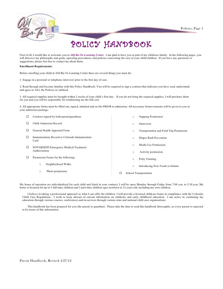 Policies, Page 1                                             POLICY HANDBOOKFirst of all, I would like to welcome you to A...