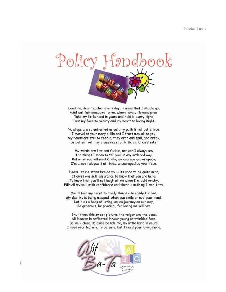 Policies, Page 1Parent Handbook, Revised 4/27/12
