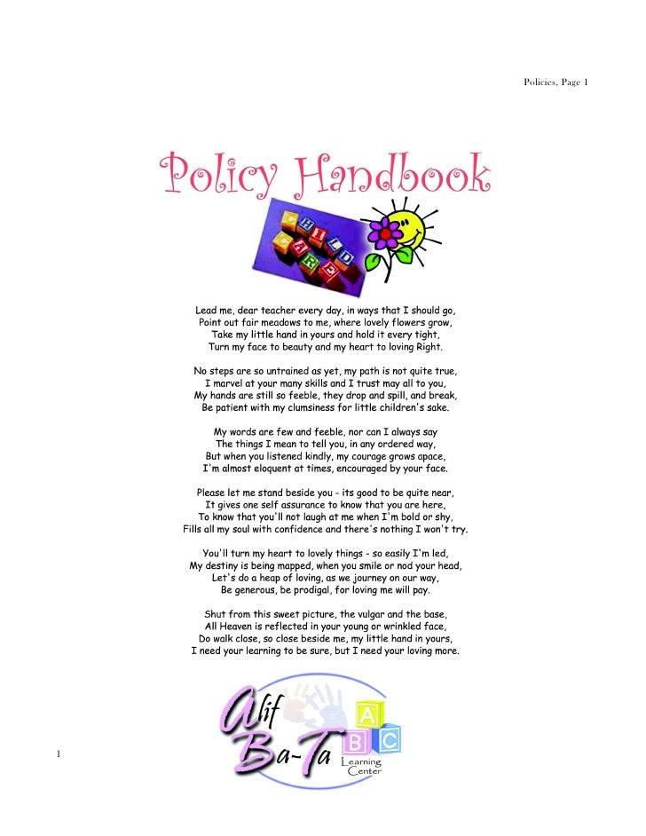 Policies, Page 1Parent Handbook, Revised 07/25/12