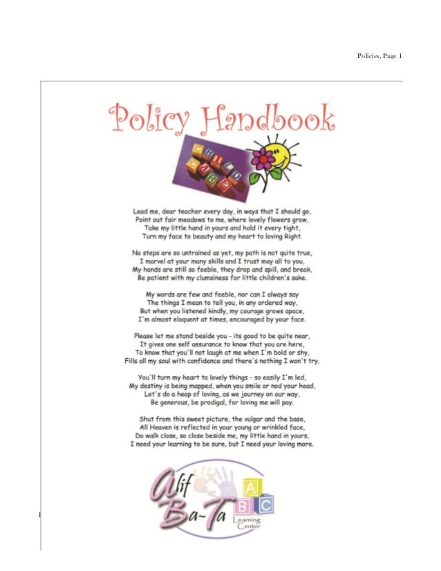Policies, Page 1Parent Handbook, Revised 10/30/12