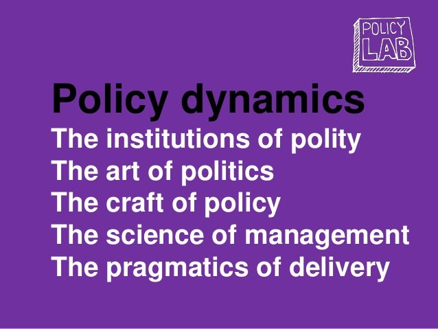Policy dynamics The institutions of polity The art of politics The craft of policy The science of management The pragmatic...