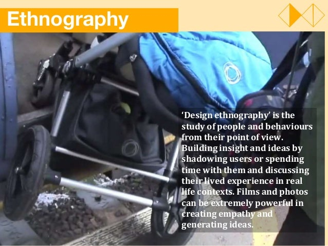 Ethnography 'Design ethnography' is the study of people and behaviours from their point of view. Building insight and idea...