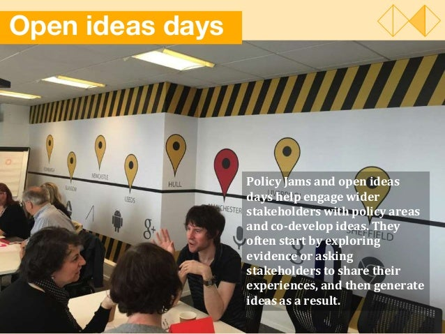 Open ideas days Policy Jams and open ideas days help engage wider stakeholders with policy areas and co-develop ideas. The...