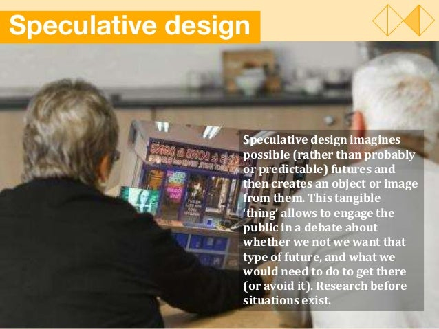Speculative design Speculative design imagines possible (rather than probably or predictable) futures and then creates an ...