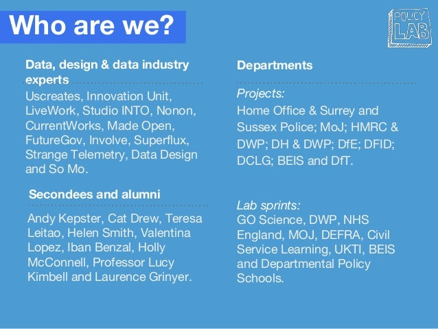Who are we? Data, design & data industry experts Departments Secondees and alumni Projects: Home Office & Surrey and Susse...