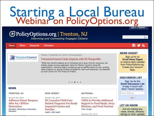 Starting a Local Bureau Webinar on PolicyOptions.org