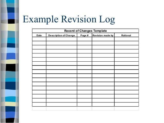 Policy presentation – Change Log Template