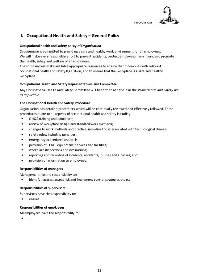 more detail 12 13 i occupational health and safety general policy