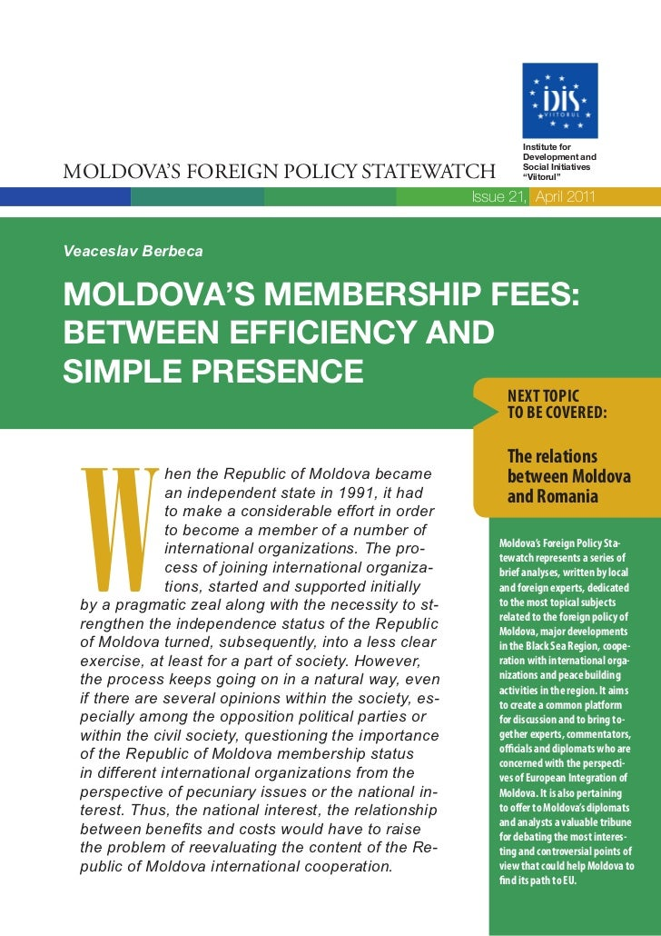Institute for                                                                   Development andMOLDOVA'S FOREIGN POLICY ST...