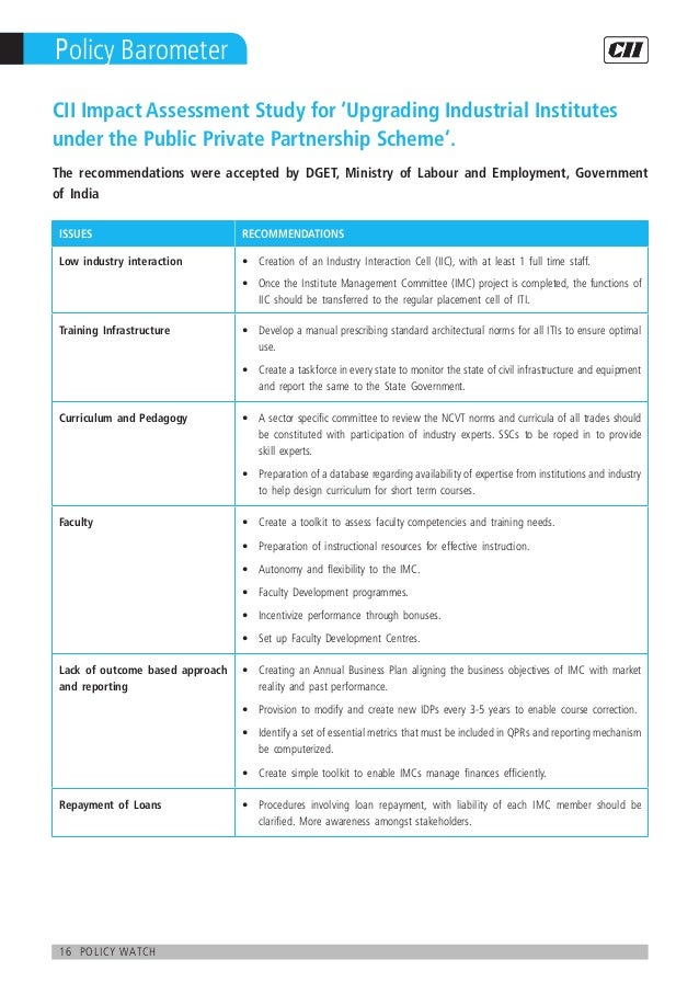 16 policy watch Policy Barometer ISSUES RECOMMENDATIONS Low industry interaction Creation of an Industry Interaction Cell ...