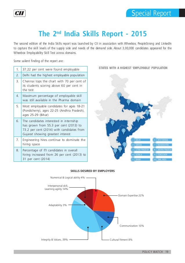 19policy watch Special Report The 2nd India Skills Report - 2015 The second edition of the India Skills report was launche...