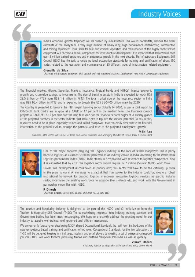 21policy watch Industry Voices The tourism and hospitality industry is delighted to be part of the NSDC and CII initiative...