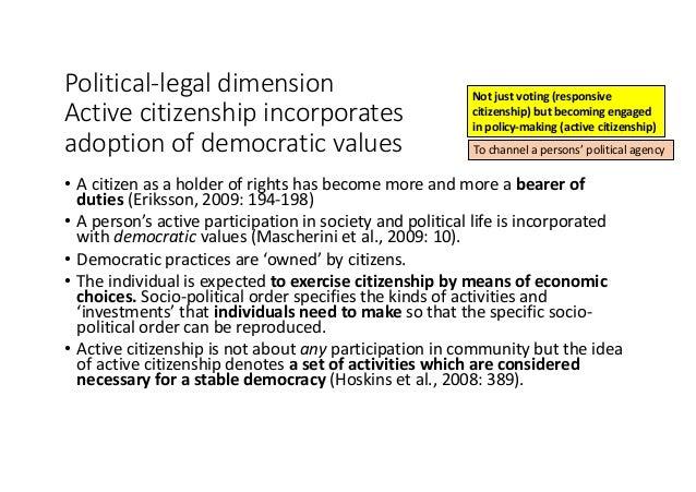 Political-legaldimension Activecitizenshipincorporates adoptionofdemocraticvalues • Acitizenasaholderofrights...