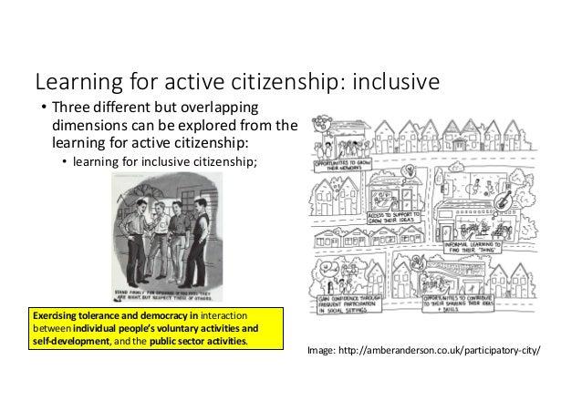 Learningforactivecitizenship:inclusive • Threedifferentbutoverlapping dimensionscanbeexploredfromthe learnin...
