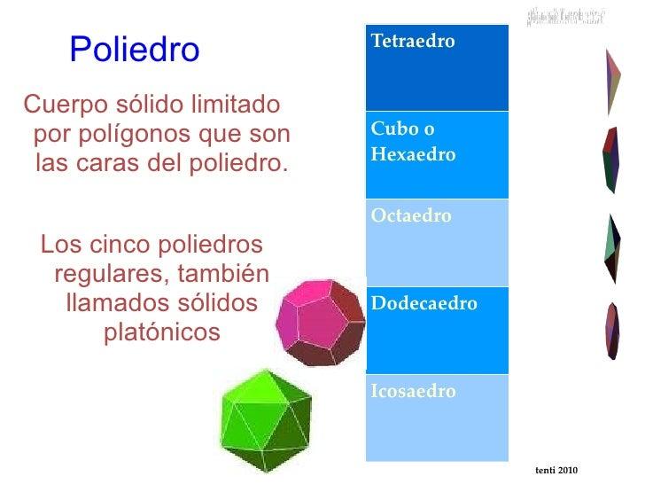 Poliedro <ul><li>Cuerpo sólido limitado por polígonos que son las caras del poliedro.