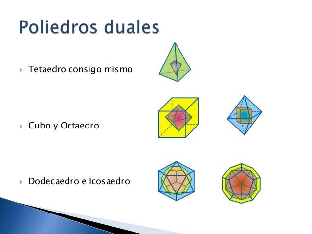  Dodecaedro e Icosaedro Cubo y Octaedro Tetaedro consigo mismo