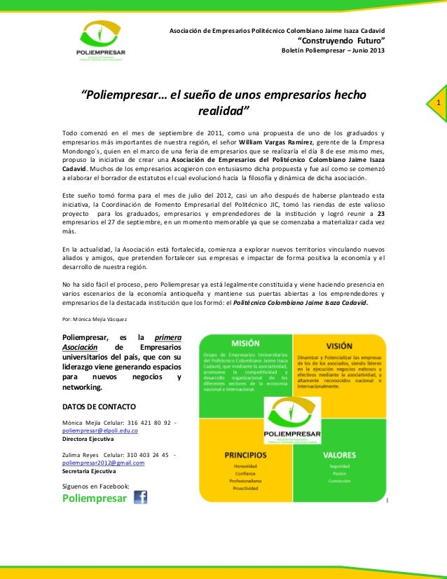 """Asociación de Empresarios Politécnico Colombiano Jaime Isaza Cadavid""""Construyendo Futuro""""Boletín Poliempresar – Junio 2013..."""
