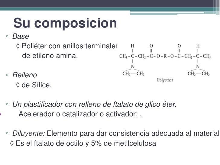 Su composicion<br />Base<br />     Poliéter con anillos terminales<br />        de etileno amina.<br />Relleno<br />     ...