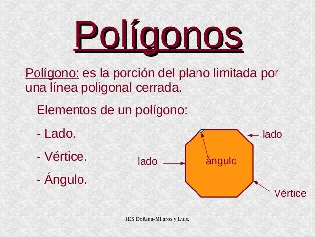 IES Doñana-Milaros y Luis. PolígonosPolígonos Polígono: es la porción del plano limitada por una línea poligonal cerrada. ...