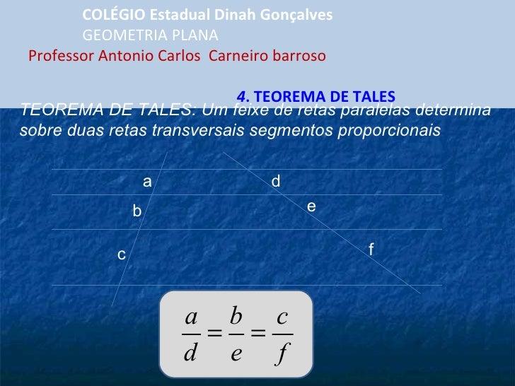 COLÉGIO Estadual Dinah Gonçalves GEOMETRIA PLANA  Professor Antonio Carlos  Carneiro barroso  4 . TEOREMA DE TALES a b c e...