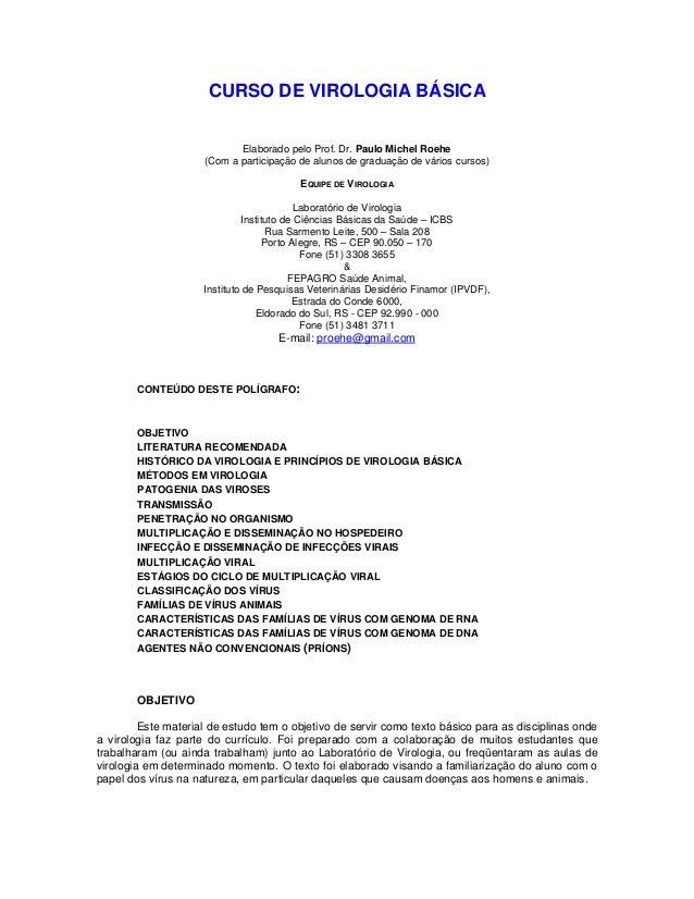 CURSO DE VIROLOGIA BÁSICA Elaborado pelo Prof. Dr. Paulo Michel Roehe (Com a participação de alunos de graduação de vários...