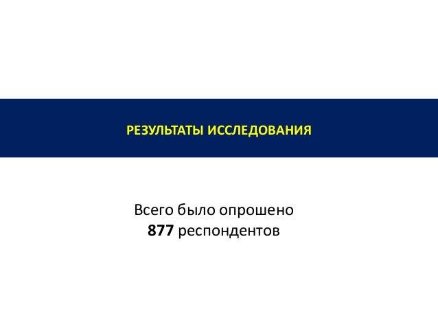 РЕЗУЛЬТАТЫ ИССЛЕДОВАНИЯ Всего было опрошено 877 респондентов