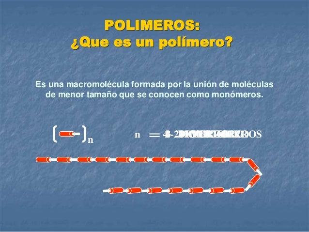 Es una macromolécula formada por la unión de moléculas de menor tamaño que se conocen como monómeros. 1 MONOMERO n n 2 DIM...