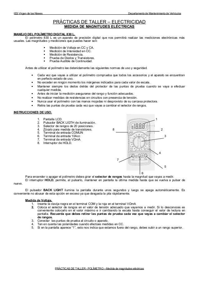 IES Virgen de las Nieves  Departamento de Mantenimiento de Vehículos  PRÁCTICAS DE TALLER – ELECTRICIDAD MEDIDA DE MAGNITU...