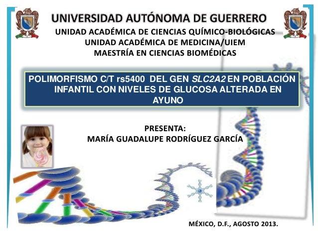 POLIMORFISMO C/T rs5400 DEL GEN SLC2A2 EN POBLACIÓN INFANTIL CON NIVELES DE GLUCOSA ALTERADA EN AYUNO