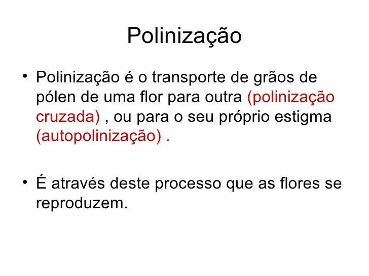 Polinização <ul><li>Polinização é o transporte de grãos de pólen de uma flor para outra  (polinização cruzada)  , ou para ...