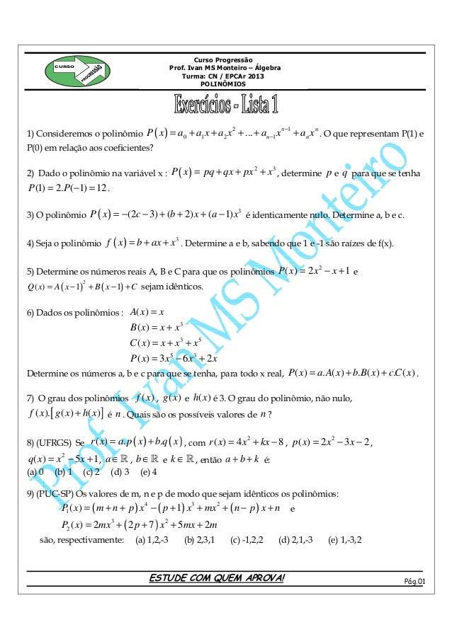 Curso Progressão        CURSO                                               Prof. Ivan MS Monteiro – Álgebra              ...