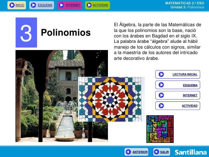MATEMÁTICAS 3.º ESO INICIO   ESQUEMA   INTERNET   ACTIVIDAD                                                               ...