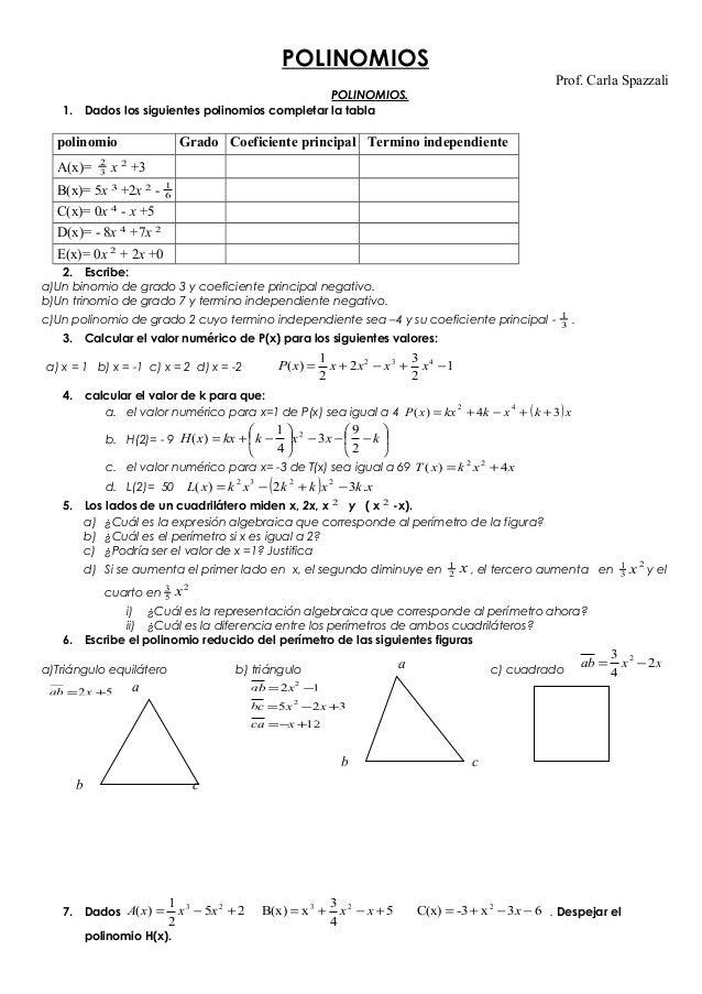 POLINOMIOS Prof. Carla Spazzali  POLINOMIOS. 1. Dados los siguientes polinomios completar la tabla  polinomio A(x)=  2 3  ...