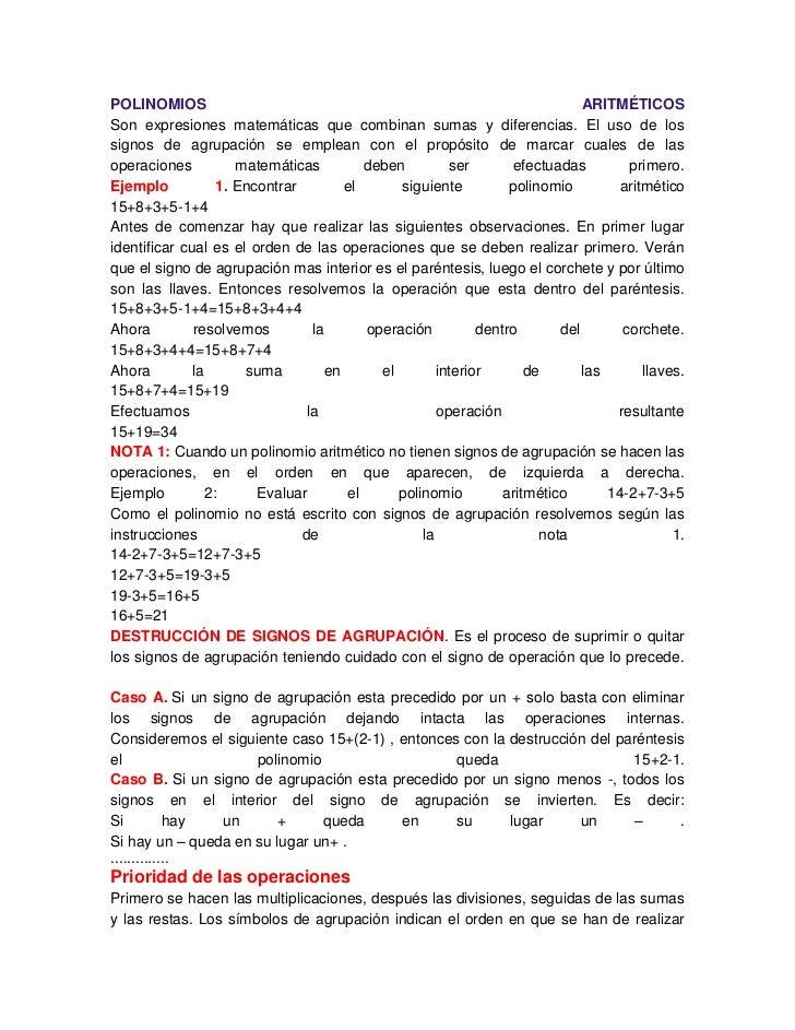 POLINOMIOS                                                                    ARITMÉTICOSSon expresiones matemáticas que c...