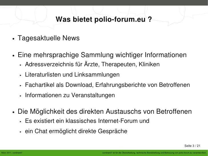 Relaunch of Polio-Forum.eu  Slide 3
