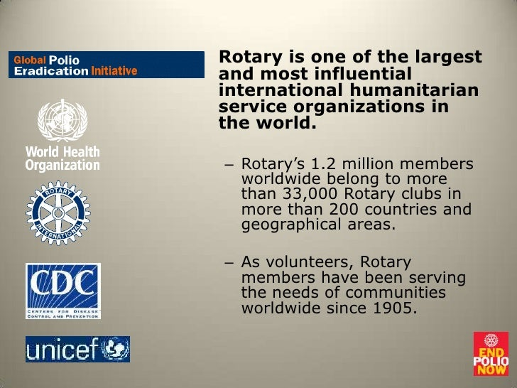 Rotary is one of the largest and most influential international humanitarian service organizations in the world.<br />Rota...