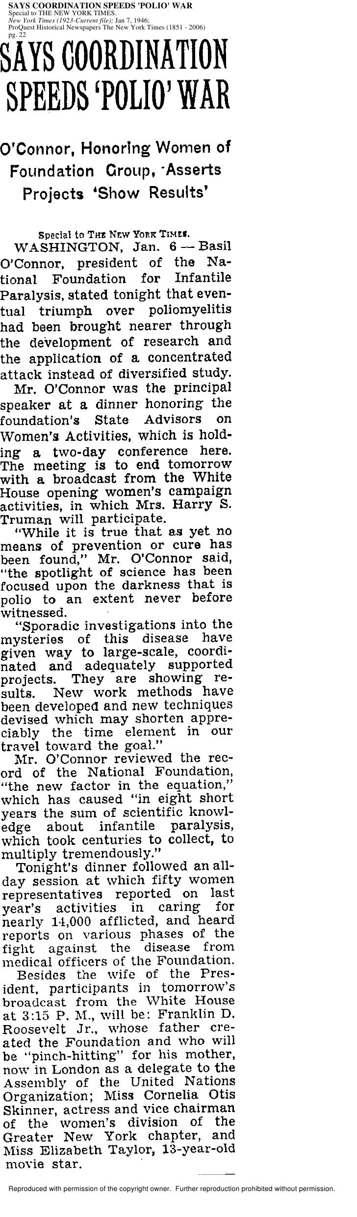 SAYS COORDINATION SPEEDS 'POLIO' WAR Special to THE NEW YORK TIMES. New York Times (1923-Current file); Jan 7, 1946; ProQu...
