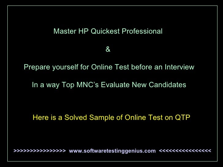 Master HP Quickest Professional  &  Prepare yourself for Online Test before an Interview In a way Top MNC's Evaluate New C...