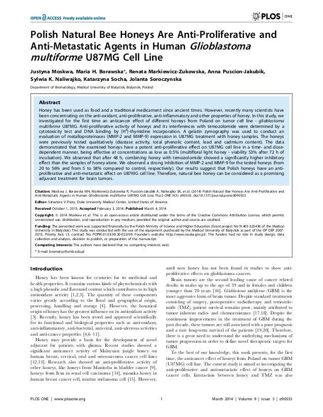 Polish Natural Bee Honeys Are Anti-Proliferative and Anti-Metastatic Agents in Human Glioblastoma multiforme U87MG Cell Li...