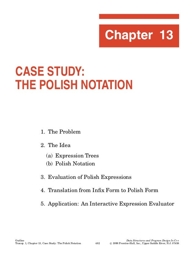 Chapter 13CASE STUDY:THE POLISH NOTATION                    1. The Problem                    2. The Idea                 ...