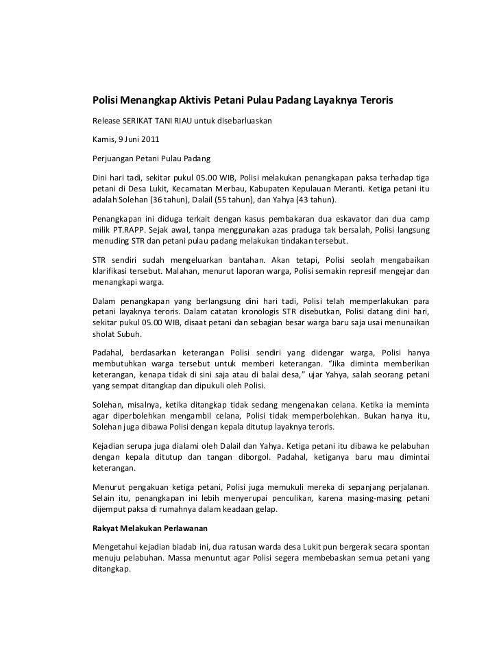Polisi Menangkap Aktivis Petani Pulau Padang Layaknya Teroris<br />Release SERIKAT TANI RIAU untuk disebarluaskan<br />Kam...