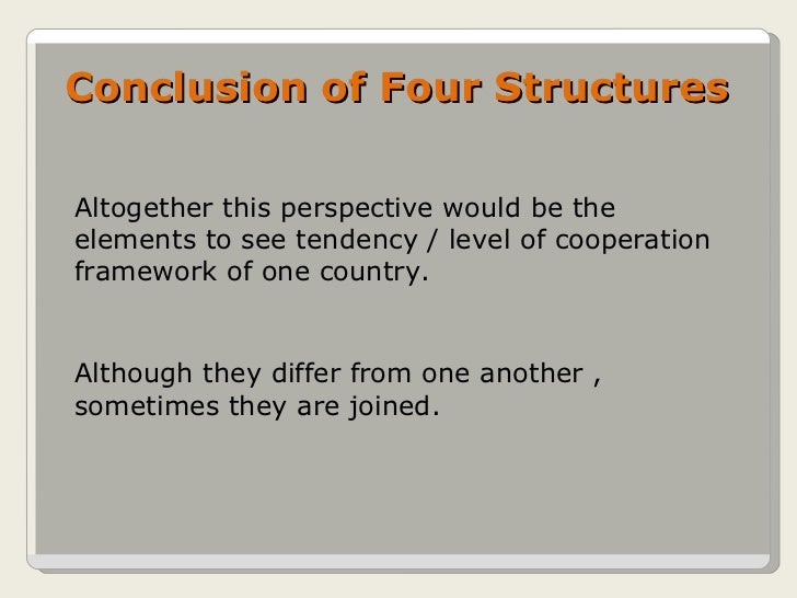 Conclusion of Four Structures Altogether this perspective would be the elements to see tendency / level of cooperation fra...