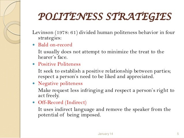 politeness theory in 2015-12-23 vol 1, no 1 english language teaching 96 politeness principle in cross-culture communication yongliang huang foreign languages department, xianyang normal university.
