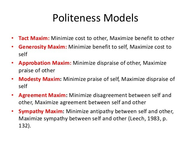 "politeness maxims Grice's conversational maxims h paul grice (1975, ""logic and conversation"" in cole, p, and jl morgan, eds speech acts new york: academic press, 41–58) was."