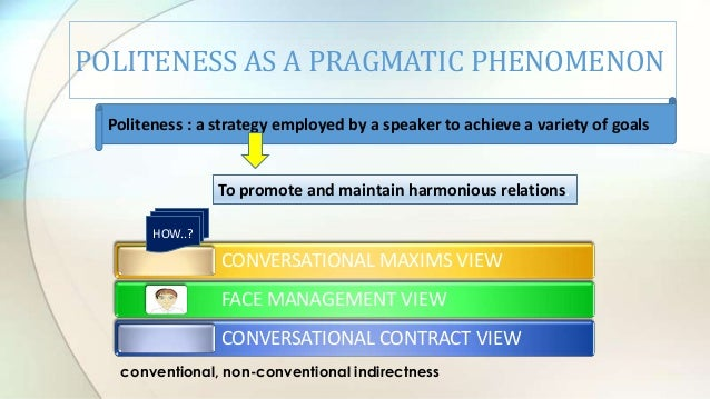 politeness maxims This paper presents an account of politeness phenomena in modern chinese four politeness maxims are formulated and illustrated the relation between politeness on the one hand, and language and conversation on the other, is also discussed.