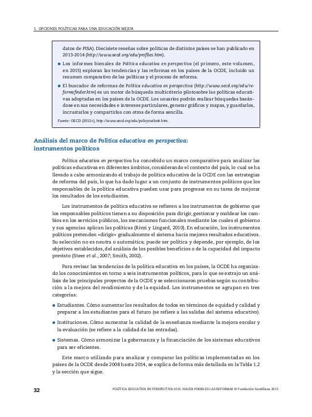Política educativa en perspectiva 2015.  Hacer posibles las reformas. @OCDE y @FundSantillana