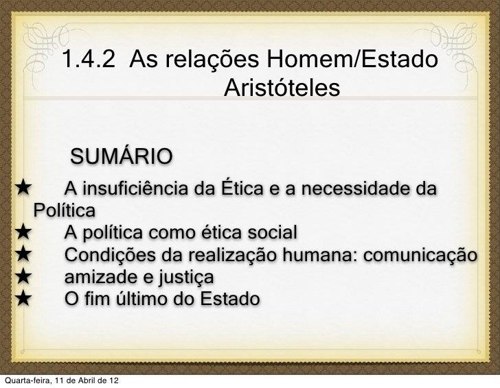 1.4.2 As relações Homem/Estado                             Aristóteles                 SUMÁRIO  ★    A insuficiência da Ét...