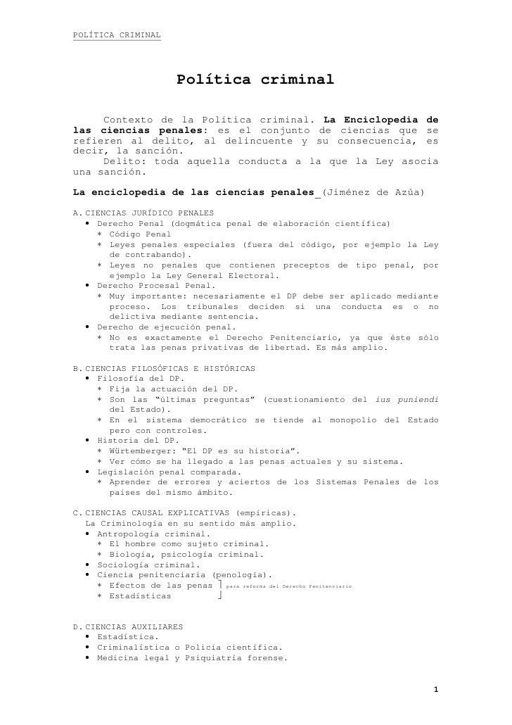 POLÍTICA CRIMINAL                        Política criminal     Contexto de la Política criminal. La Enciclopedia delas cie...