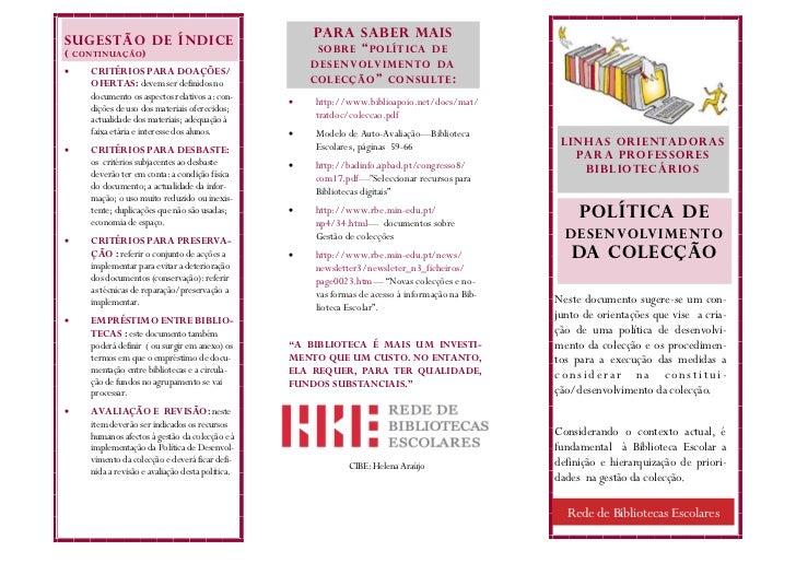 """PARA SABER MAISSUGESTÃO DE ÍNDICE( CONTINUAÇÃO )                                                      SOBRE """" POLÍTICA DE ..."""